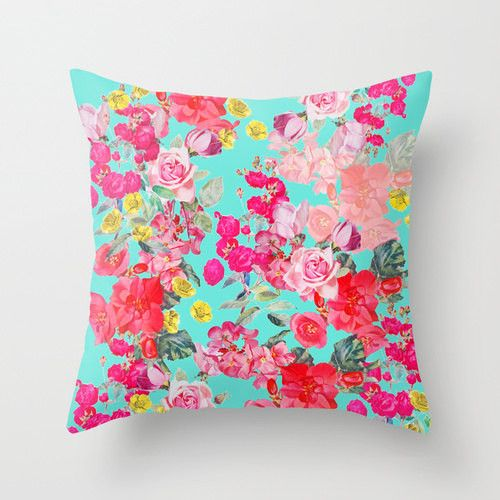 Beautiful Spring Floral Pillow Cover with Vintage Inspired print design on Turquoise/ Teal Background