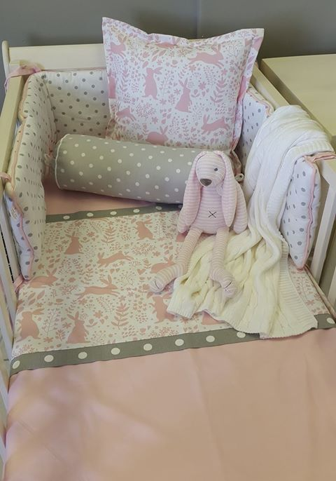 Our #SpringRabbits in #Pink is perfect for any #BunnyTheme nursery! With a touch of #Grey, this bedding couldn't be better for any #BabyGirl!  #BabyBedding #BabyLinen