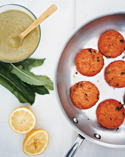 Salmon Cakes with Sorrel Sauce Recipe