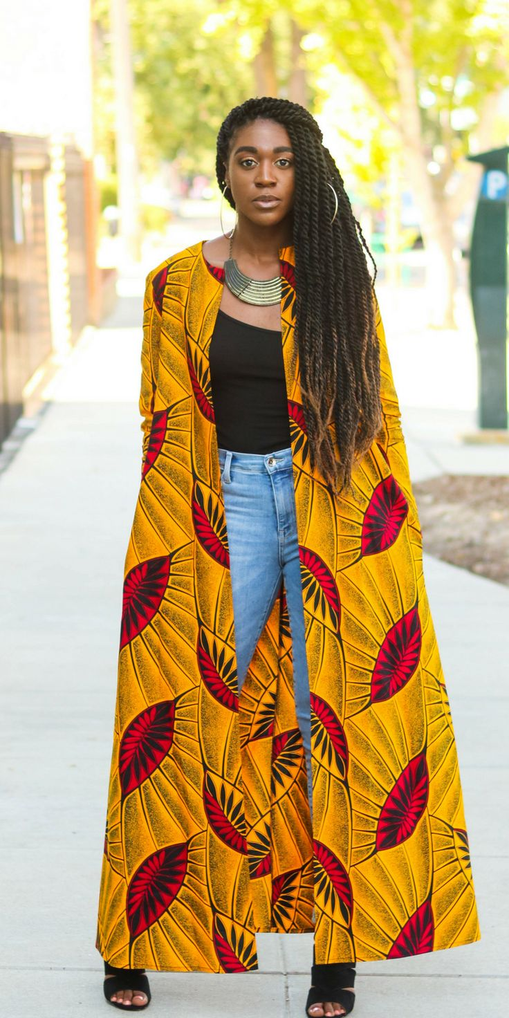 African Print Duster, African Print Cardigan, DIY Duster, DIY Coat, DIY Jacket, African Print Fashion, Long Cardigan, Fall Fashion,  Ankara Fashion, Ankara Coat, Ankara Duster