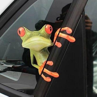 2 pcs/lote tcar 3d grenouille autocollants de voiture, Style de voiture personnalisée gekkonidae rétroviseur guirlande autocollant sur la voiture