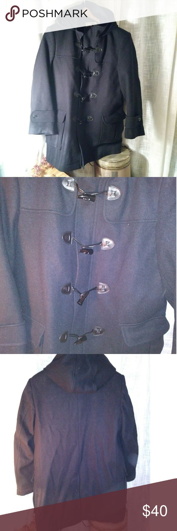 EUC L.L.Bean Pea Coat w/ Hood (M-Reg) This is a like new medium- reg L.L.Bean Black pea coat. This is a black like the last pic, all buttons and zippers firmly in place. This is made of mostly wool so dry clean only for best results. This would keep you very warm and stylish at the same time. Thank you for stopping by and looking! L.L. Bean Jackets & Coats Pea Coats