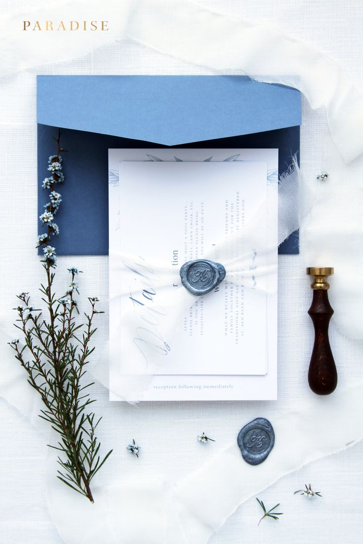 Rochelle Dusty Blue Wedding Invitation Sets, Wax Seal Invitations, Luxury Wedding Invitation, Silk Belly Band, Wax Stamp Invitations