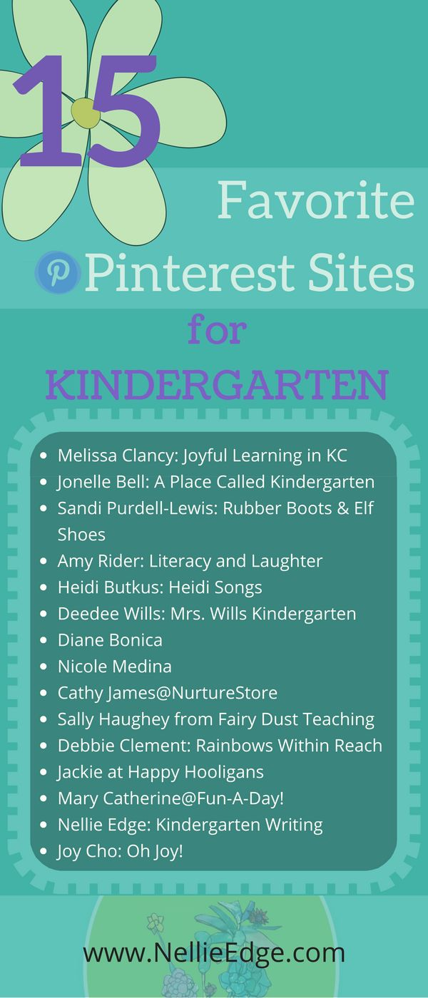 "15 Favorite Pinterest Sites for Kindergarten/ We love to search Pinterest for the best kindergarten writing and early learning resources we can find to share with you our Nellie Edge seminar participants and online friends. These 15 sites go way beyond ""cutesy"" and consistently share high quality ""pinteresting"" resources. They are kindred spirits in meaningful and joyful literacy. Learn more at www.NellieEdge.com/... 