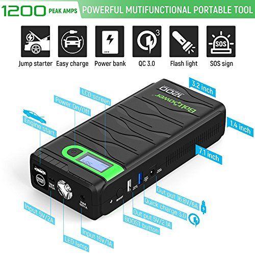 Bolt Power N02 1200 Amp Peak 12 Volt Car Battery Jump Starter For