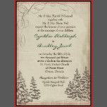 """Vintage Evergreen Wedding Invitation. This design is perfect for a rustic winter theme wedding.  Accented with elegant swirls in the corner and beautiful """"snow covered"""" evergreen trees at the bottom."""