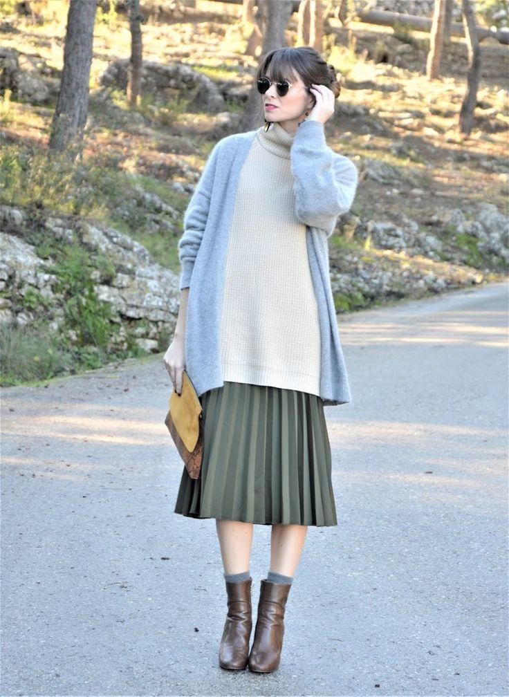 #maxi #sweater #jersey #beig #falda #midi #falda #plisada #oversize #style #look #ootd #outfit #lookfortime