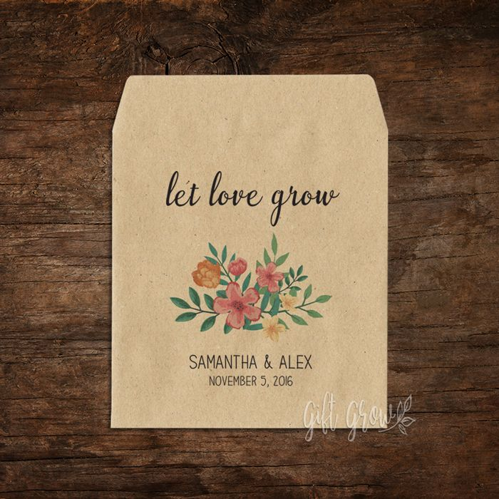 Garden Floral Bouquet Wedding Seed Packets