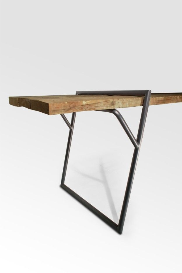 """Quadra"" Table - prototype 2013 by Luis Arrivillaga The designer words: ""Loop stand frame inspired by the geometrical shape that permits an invisible view of a natural static structure. Is designed to conseive a universal table that gives the pos sibility..."