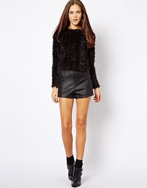 Image 1 ofRiver Island Texured High Waisted Short