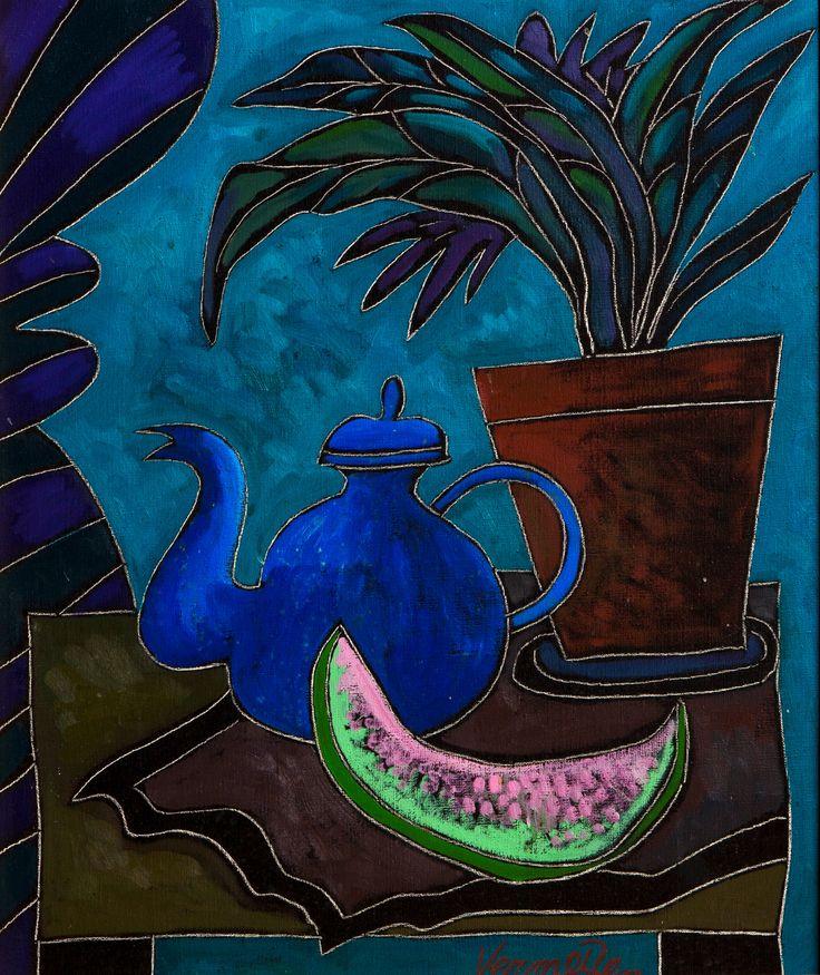 Jan Vermeiren (b. 1949) 'Still life with teapot and watermelon'