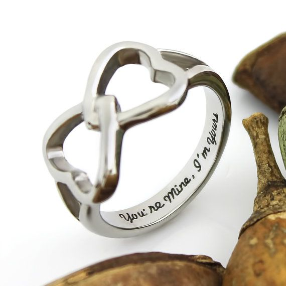 Double Hearts Infinity Ring Promise Ring Wedding Band