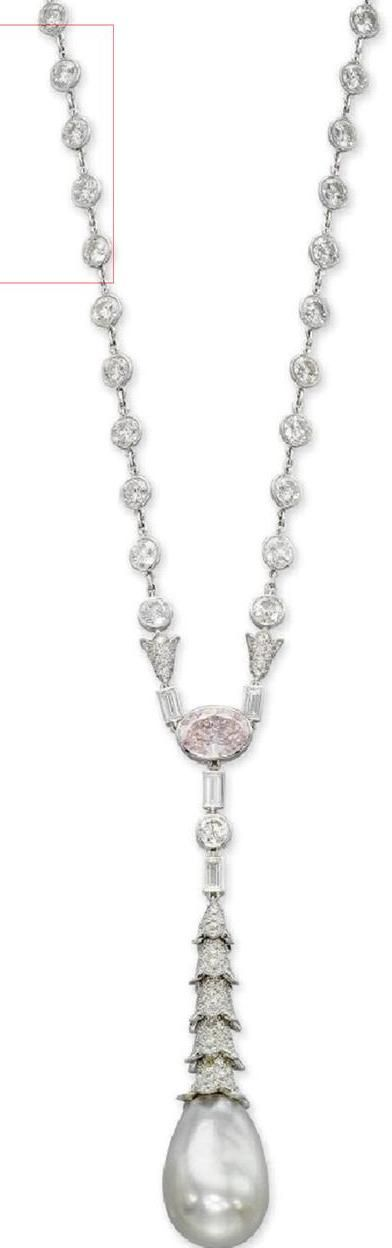 The Cartier's Natural Pearl, White and Pink Diamond Necklace probably originated in the early Art Deco period.