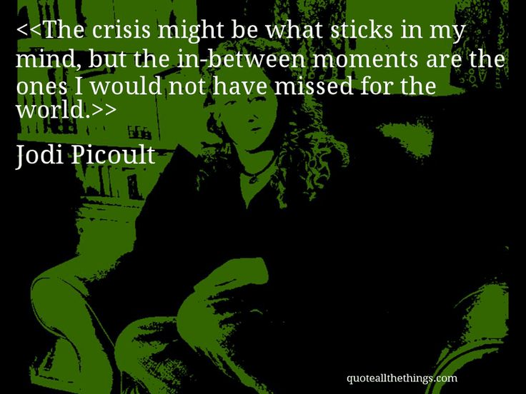 Jodi Picoult - quote-The crisis might be what sticks in my mind, but the in-between moments are the ones I would not have missed for the world. #JodiPicoult #quote #quotation #aphorism #quoteallthethings