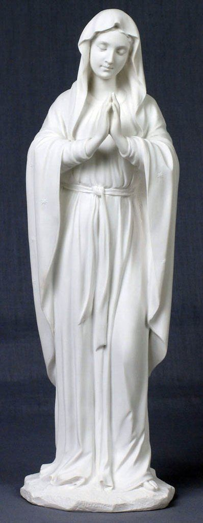 Beautiful praying Madonna statue in white to represent her purity.This praying Virgin Mary statue is from the Veronese Collection. This is a very special and hi