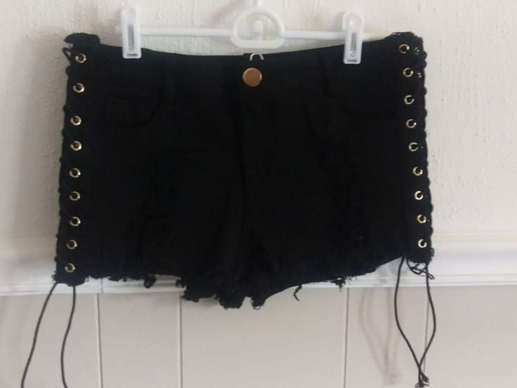 Wanna This Black Distressed Side Lace-Up Shorts Size XL #WannaThis #Lace