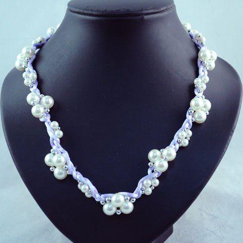 Мода дружбы бусины ожерелья цепи для женщин фиолетовый мягкая лента шнур тканые цепи с фиолетовым ожерелье NL 971 купить на AliExpress