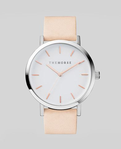 Polished Steel / White Face with Rose Gold Indexing