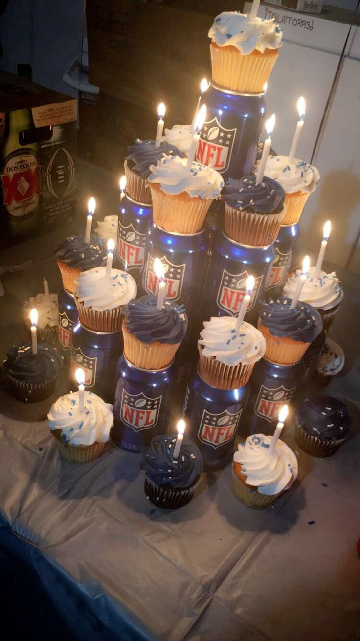 Football and beer birthday cupcakes