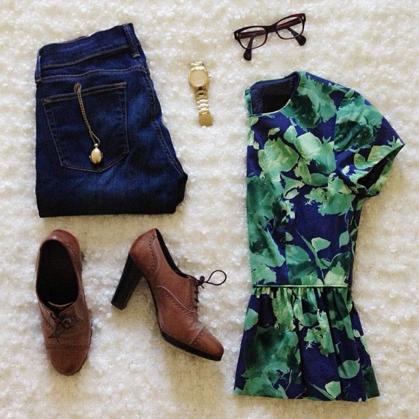 Peplum floral with oxford heels