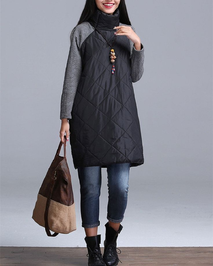 2016 Plus Size Autumn Winter Women Dress M-3XL Turtleneck Casual Loose Patchwork Robe Cotton Soft Black Gray Red Tunic Vestidos