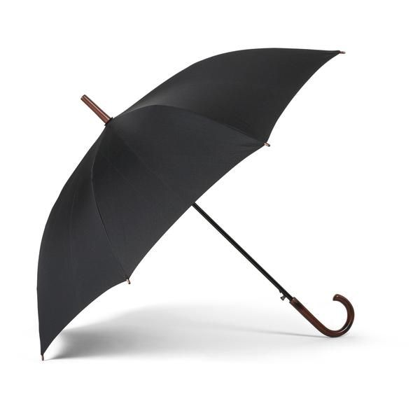 """There's nothing like a classic! This over-sized 48"""" black umbrella features a crooked handle so that you can carry it easily, whether you're running to the subway or simply taking a stroll in the park."""