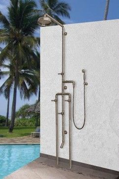 Not sure how this would fare in the winter but great for coming home from beach and for dogs.  Sonoma Forge Outdoor Shower - industrial - Outdoor Products - Home & Stone