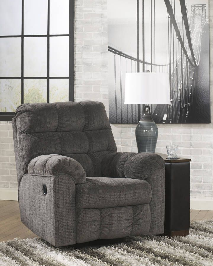 acieona contemporary slate fabric swivel rocker recliner ashley furniture chairsliving room - Swivel Recliner Chairs For Living Room