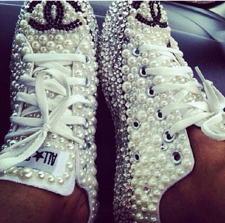 Pearl and Crystal Converse by GlitterMafiaa on Etsy