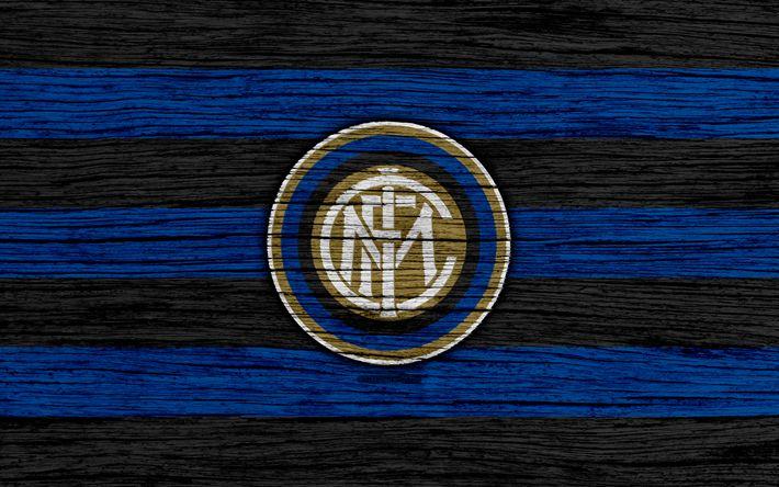 Download wallpapers Inter Milan, 4k, Serie A, logo, Italy, wooden texture, Internazionale, FC Inter Milan, soccer, football, Inter Milan FC