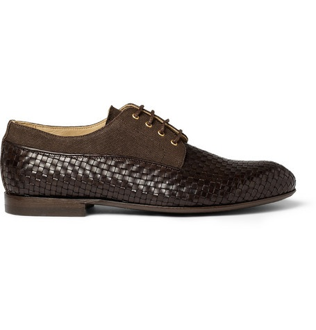 Armando Cabral Papel Woven-Leather and Canvas Derby Shoes | MR PORTER