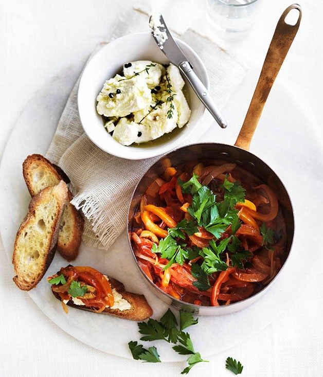 Piperade with soft cheese and toasted baguette, Fast French Recipes via Gourmet Traveller