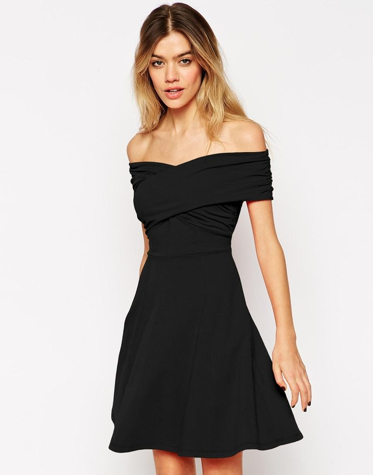 Image 1 of ASOS Bardot Skater Dress with Cross Front and Ruched Detail