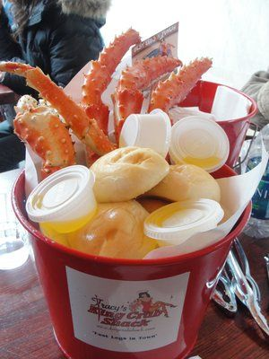 Dine on fresh crab legs, crab cakes and bisque at Tracey's King Crab Shack, Juneau
