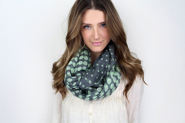 chunky polka dot infinity scarf, MORE COLORS mint dark gray, black or coral, black tan.