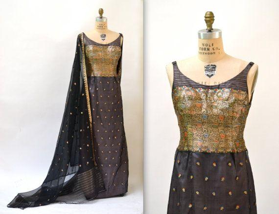 50s Vintage Evening Gown Medium Black Gold by Hookedonhoney