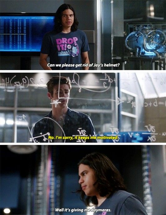 """Can we please get rid of Jay's helmet? It's giving me daymares"" - Cisco and Barry #TheFlash"