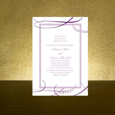 sweeping swirls purple wedding invitation bed bath beyond wedding invitations accessories