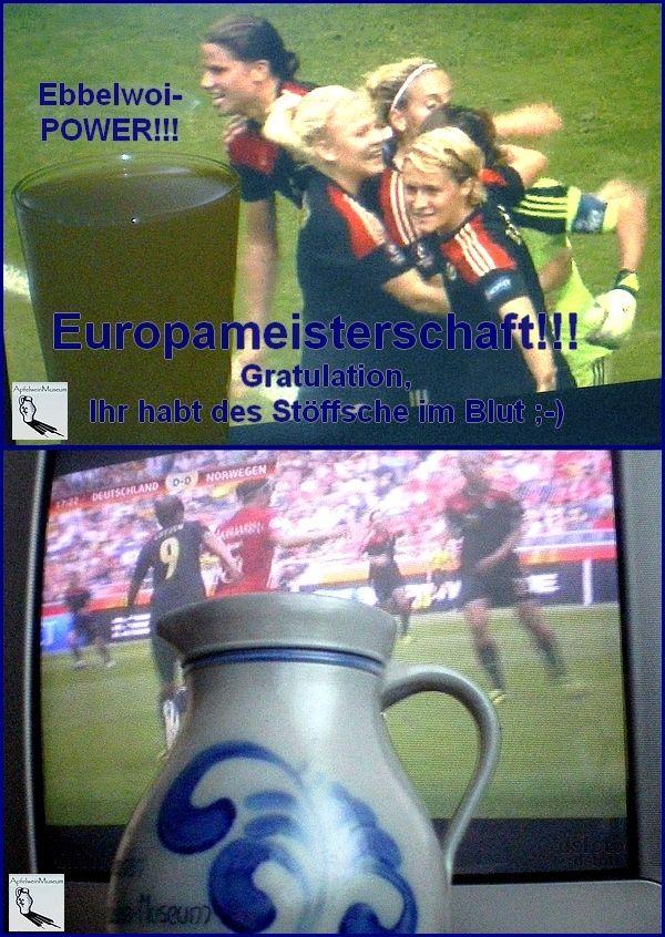 #EUROPAMEISTERSCHAFT!!! #Finale der #Fussball-Europameisterschaft der #Frauen: #Deutschland – #Norwegen 1:0 - Gratulation an die DFB-Frauen, Ihr habt des #Stoeffsche im Blut, #Ebbelwoi-POWER ;-)))  www.deutsches-apfelweinmuseum.de Daumendrücken bei #Bembel und #Apfelwein, Danke für die Handy-Fotos an dsfoto
