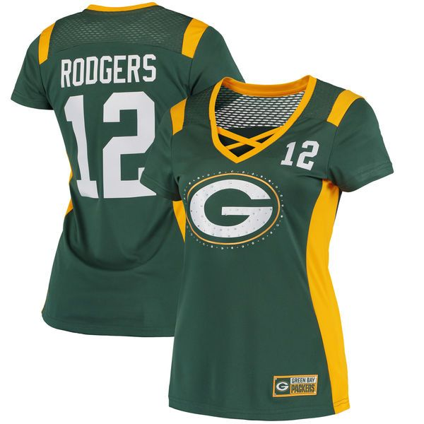 Aaron Rodgers Green Bay Packers Majestic Women's Draft Him Name & Number Fashion T-Shirt - Green - $64.99