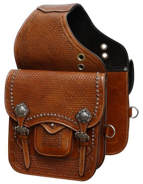 WESTERN HORSE SADDLE BAG OR MOTORCYCLE SADDLE BAGS HAND TOOLED BROWN LEATHER #SHOWMAN