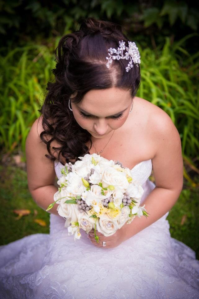 Bride and her bouquet -floral creations by Marian Louie, http://www.pinterest.com/marianlouie