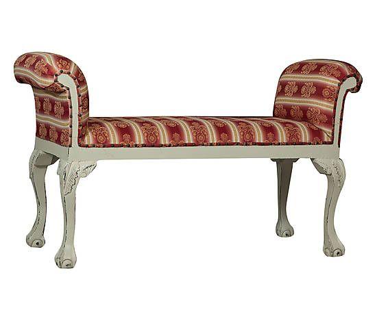 Мягкая скамья - дерево и ткань - белый и красный - 110x75x46 см