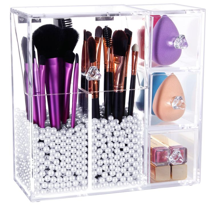 Lifewit Langforth 5mm Thick Acrylic Makeup Organizer Case with Rosy Pearl, Type3