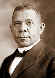 Booker Taliaferro Washington (April 5, 1856[1] – November 14, 1915) was an African-American educator, author, and advisor to Republican presidents. He was the dominant figure in the African-American community in the United States from 1890 to 1915. Representative of the last generation of black American leaders born in slavery, he spoke on behalf of the large majority of blacks who lived in the South but had lost their ability to vote through disfranchisement by southern legislatures.