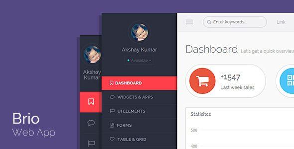 Brio Web App - Bootstrap Admin Template + Angular - Admin Templates Site Templates