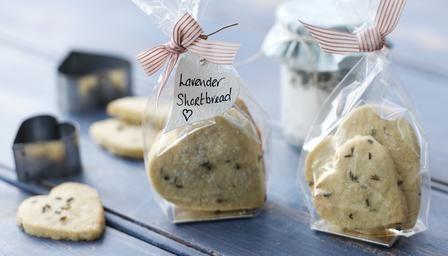 Lavender shortbread hearts. Easy, pretty presents.