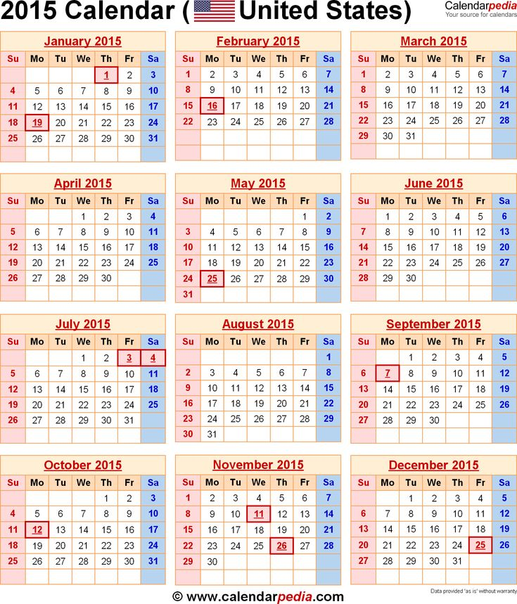 2015 calendars | 2015 Calendar with Federal Holidays & Excel/PDF/Word templates