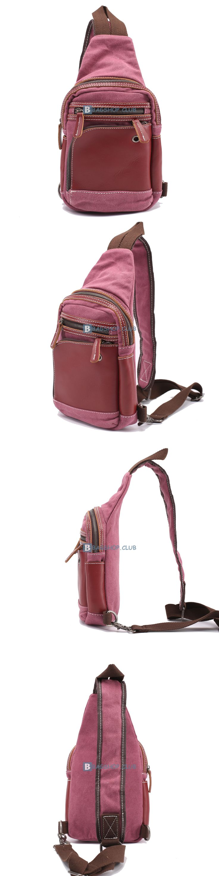Cross Body Sling Backpack Canvas Sling Bags Material: canvas Color: Red Size: Large: 28*28*7 cm Small: 16*25*7 cm Gender: Female Related sling bags:Mens Shoulde