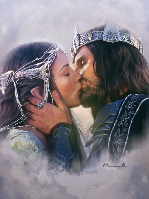 You know that look Aragorn gives Arwen in the Return of the King?  After his coronation, right after the war is over and they can finally be together?  Well.. I like to think that was their wedding. That they didn't need vows. With Arwen's nervous tears and Aragorn's concern and delight from just being with her.   Well. One day when I get married, I hope that someone looks at me in that way..